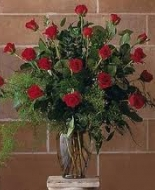 A Vase of Two Dozen Red Roses