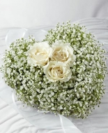 Babys Breath Heart with 3 white roses,Beautiful
