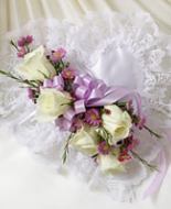 Lavender and White Satin Pillow