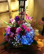 Lavender roses and blue hydrangeas is so Thoughtfull to send to the Home or Service