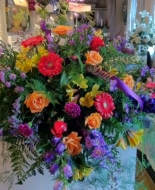This is a beautiful Casket Blanket of nice variety of a bright mix of Beautiful Flowers