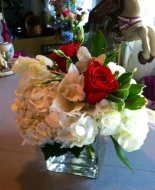 white hydrangeas,red roses,even white orchids,very comforting