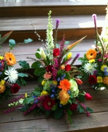 With Three matching arrangements or One is nice to add a picture,urn,Angel,etc.