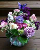 Lavender & assorted roses, in a beautiful vase.Very Comforting