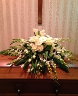 This all white floral Casket Blanket is Beautiful!