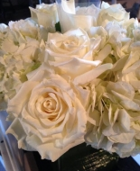 This is a close up of the flowers used in our beautiful tall white vase