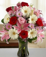 Pink with Red Roses and white Gerbers